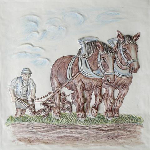 Bild: Motiv »Pflügender Bauer« 44 x 44 cm bunt dekoriert