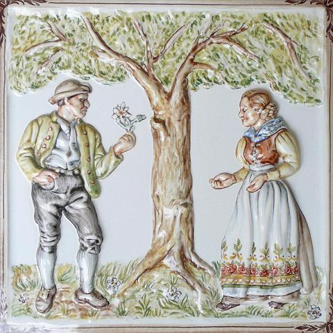 Bild: Motiv »Adam und Eva« 44 x 44 cm bunt dekoriert