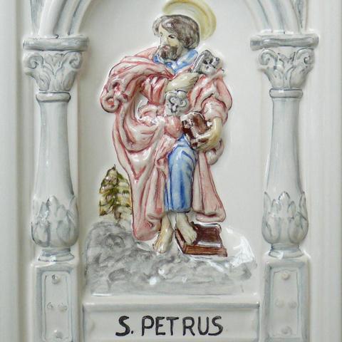 Bild: K 40 · Glasur 1040 Heiligenmotiv bunt dekoriert