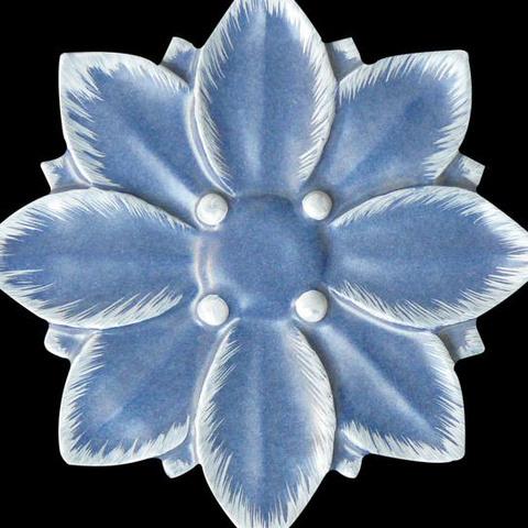 Bild: Motiv Blüte Glasur 1064 16x16 cm weiß dekoriert